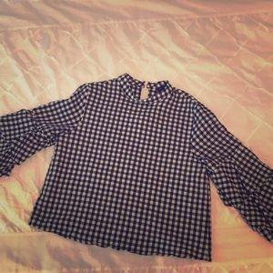Zara gingham plaid tier sleeve top
